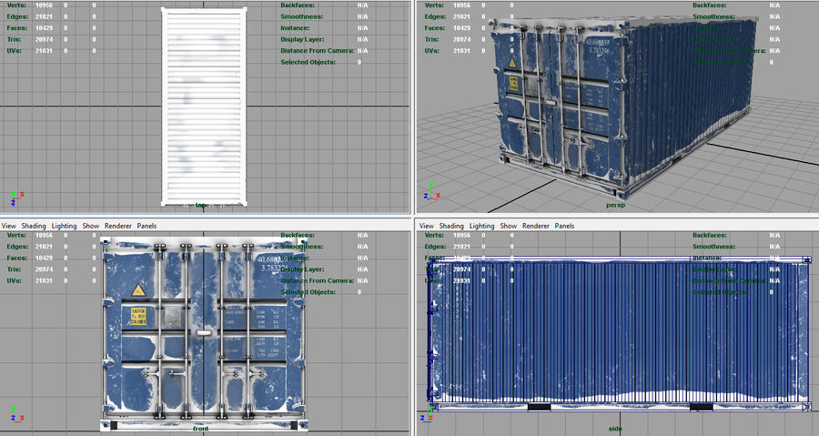 CONTAINER BLUE royalty-free 3d model - Preview no. 7