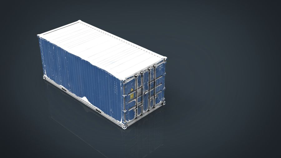 CONTAINER BLUE royalty-free 3d model - Preview no. 12