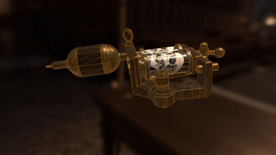 Tattoo machine royalty-free 3d model - Preview no. 9