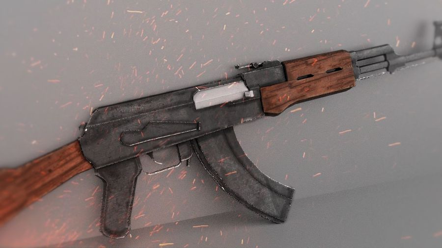 [LowPoly] AK-47 royalty-free 3d model - Preview no. 5