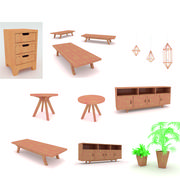 Simple Wooden Furniture 3d model