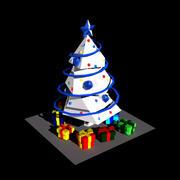 NY vit julgran med gåvor 3d model