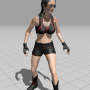 Menina com animação de seta 3d model