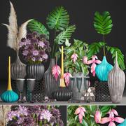 鲜花花束的集合 3d model