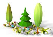Pack de plantes de dessin animé LowPoly 3d model