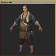 Laag poly 3D-personages-fruitkraam 3d model