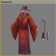 Personagens 3D de baixo poli - Bacharel em Academia Imperial 3d model