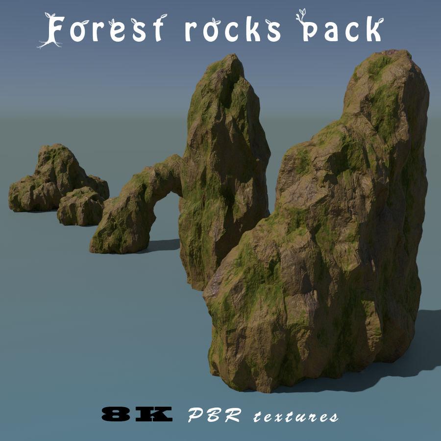 Pakiet skał leśnych royalty-free 3d model - Preview no. 2