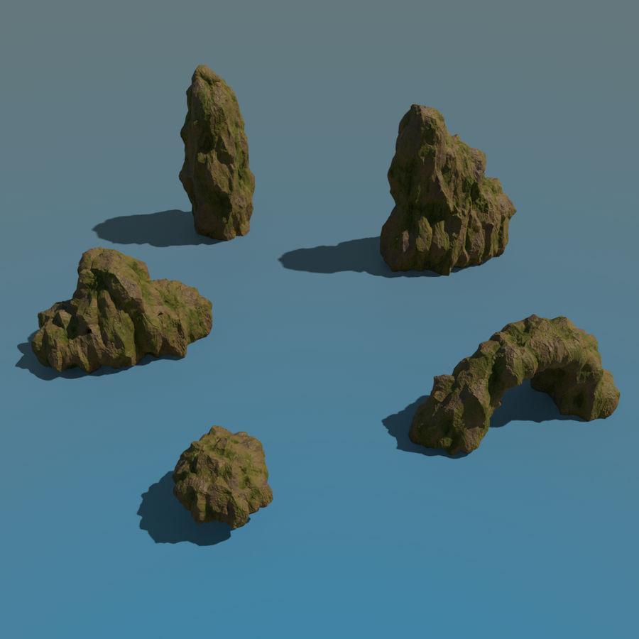 Pakiet skał leśnych royalty-free 3d model - Preview no. 3