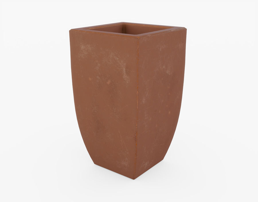 Clay Flower Pot royalty-free 3d model - Preview no. 3
