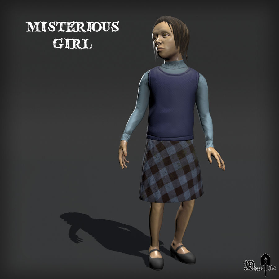 Misteriosa chica royalty-free modelo 3d - Preview no. 7