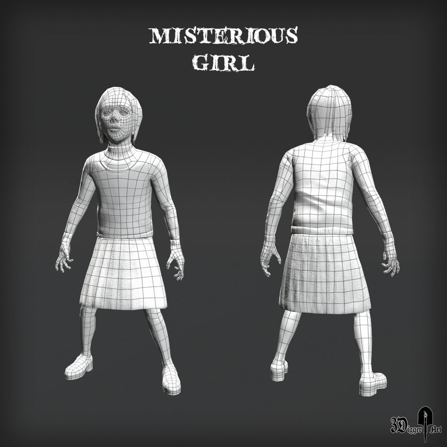 Misteriosa chica royalty-free modelo 3d - Preview no. 4