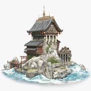 古いアジアの建物 3d model