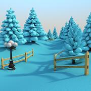 Снежная сцена на открытом воздухе 3d model