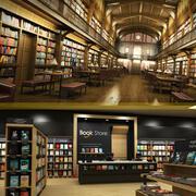 Bibliothek und Buchhandlung 3d model