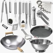 Köksutrustning i rostfritt stål och kolstål 3d model