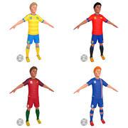 Giocatori di calcio dei cartoni animati 2 3d model