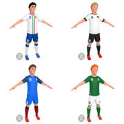 Giocatori di calcio dei cartoni animati 1 3d model