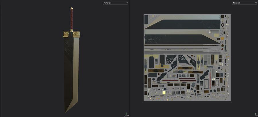 Buster Sword Final Fantasy VII Zack Fair royalty-free 3d model - Preview no. 10