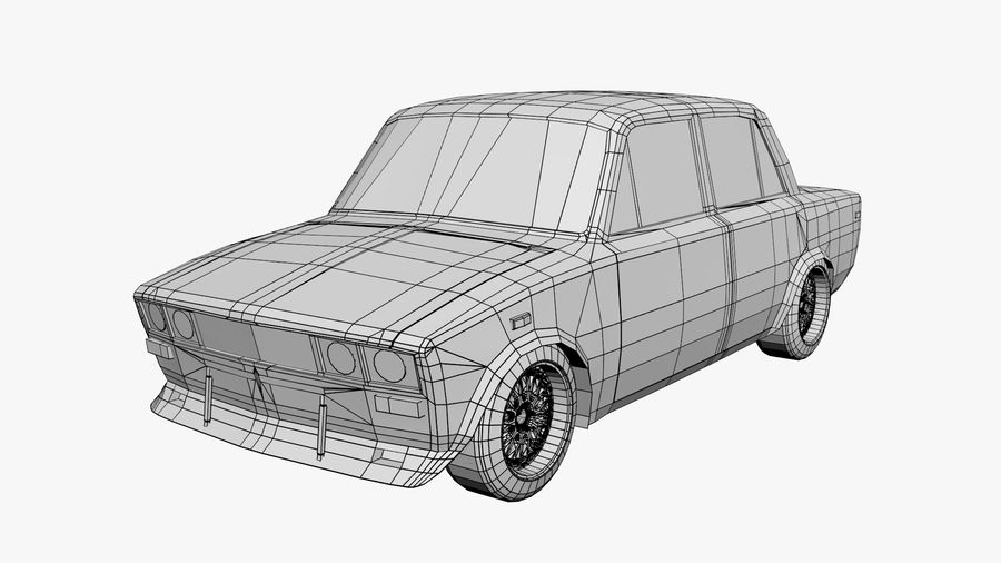 Samochód Low Poly royalty-free 3d model - Preview no. 6