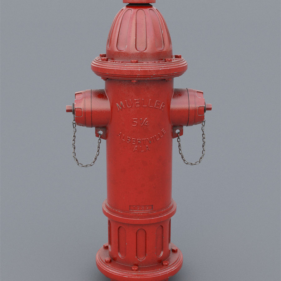 Fire Hydrant royalty-free 3d model - Preview no. 3