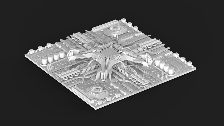 CPUマザーボード royalty-free 3d model - Preview no. 13