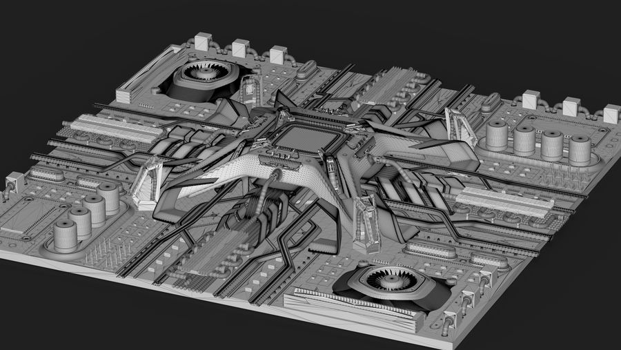 CPUマザーボード royalty-free 3d model - Preview no. 16
