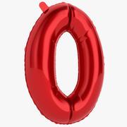 Balon foliowy Digit Zero Red 3d model