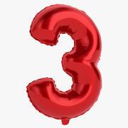 Balon foliowy cyfra trzy czerwone 3d model