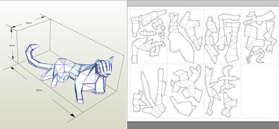 Chat papercraft royalty-free 3d model - Preview no. 10