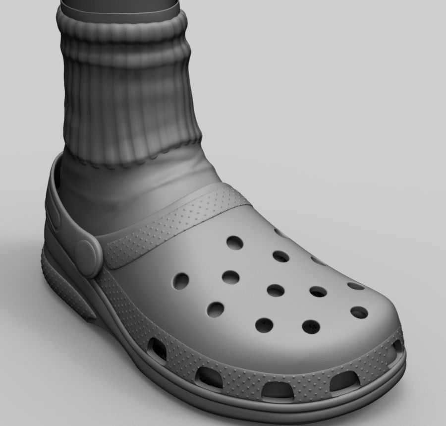 Crocs and socks royalty-free 3d model - Preview no. 1
