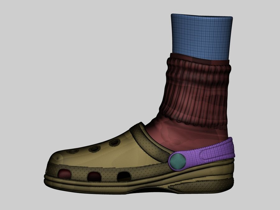 Crocs and socks royalty-free 3d model - Preview no. 4