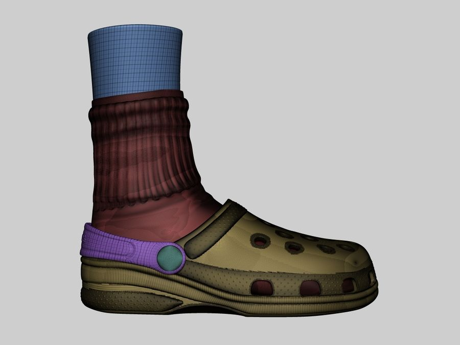 Crocs and socks royalty-free 3d model - Preview no. 3