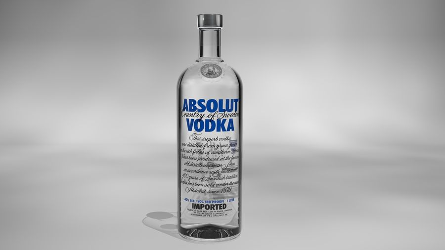 Absolut Vodka-flaska royalty-free 3d model - Preview no. 3