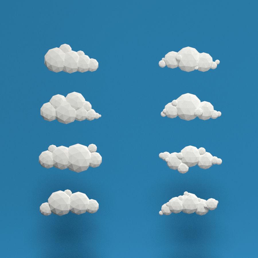 ensemble de nuages bas poly 48 royalty-free 3d model - Preview no. 1
