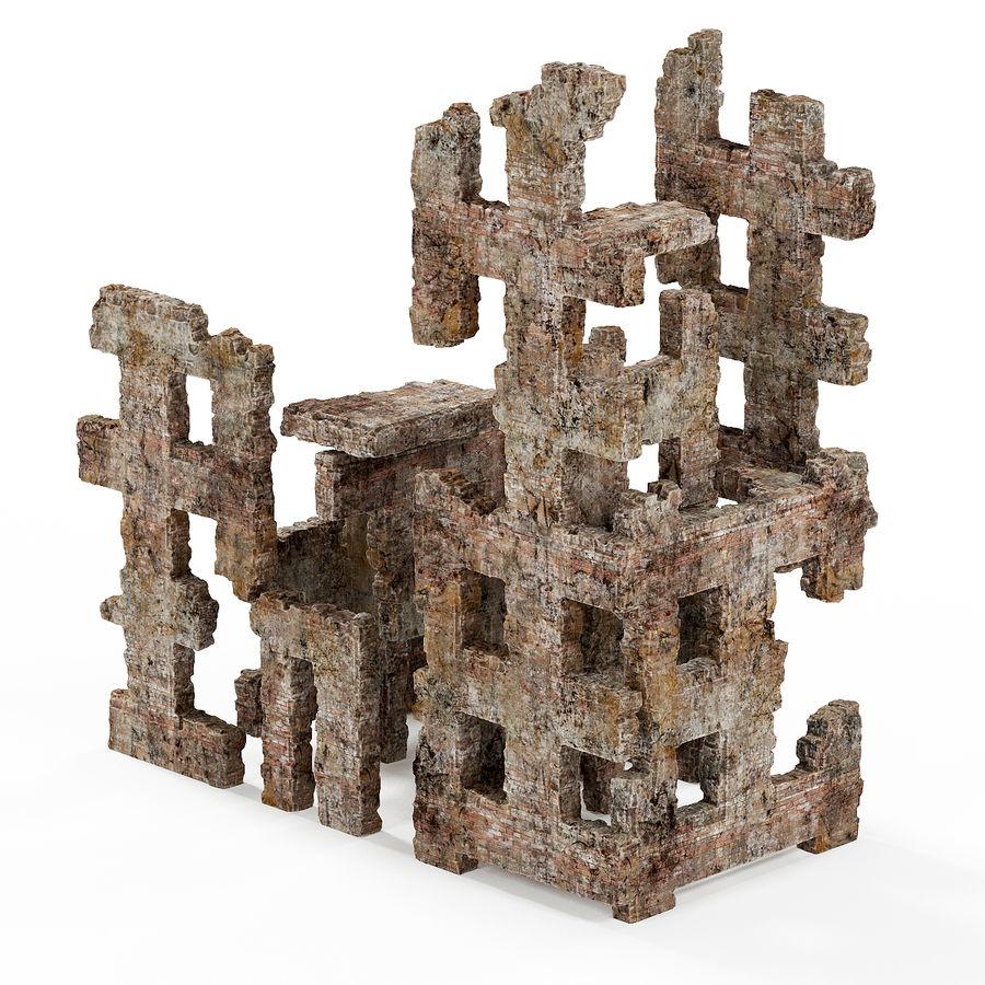 Edificio de ruinas royalty-free modelo 3d - Preview no. 6