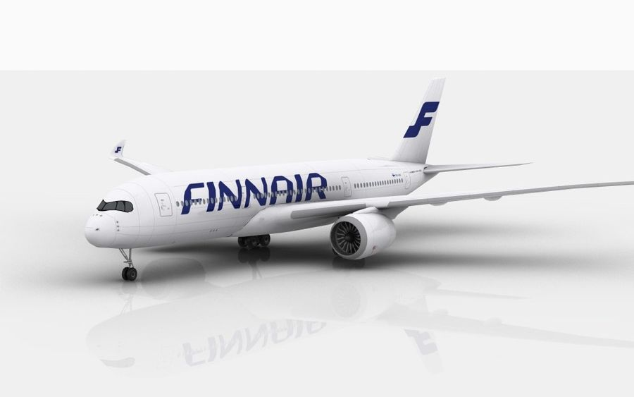 Airbus A350 Finnair royalty-free 3d model - Preview no. 2