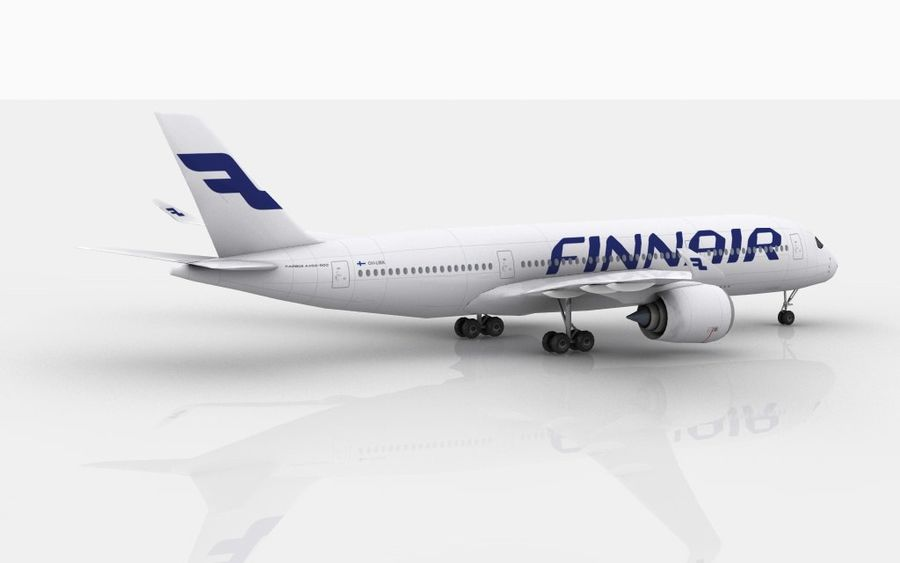 Airbus A350 Finnair royalty-free 3d model - Preview no. 6