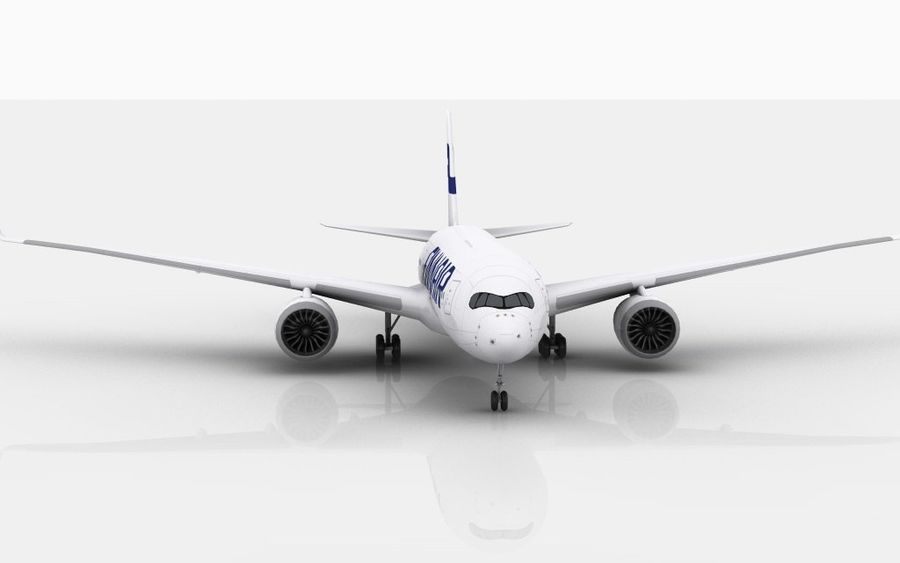 Airbus A350 Finnair royalty-free 3d model - Preview no. 4