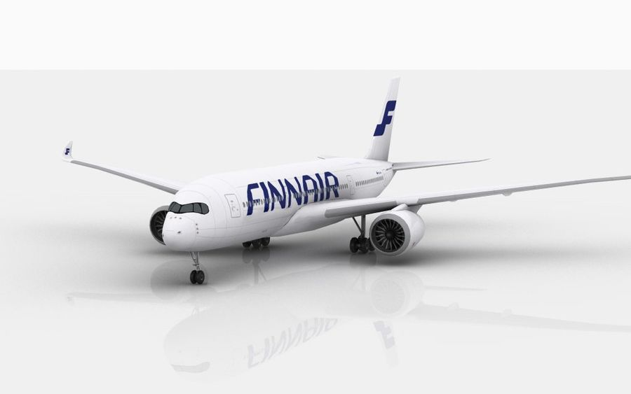 Airbus A350 Finnair royalty-free 3d model - Preview no. 3