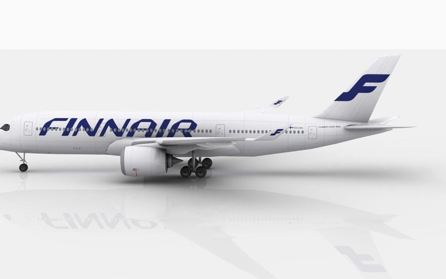 Airbus A350 Finnair royalty-free 3d model - Preview no. 8