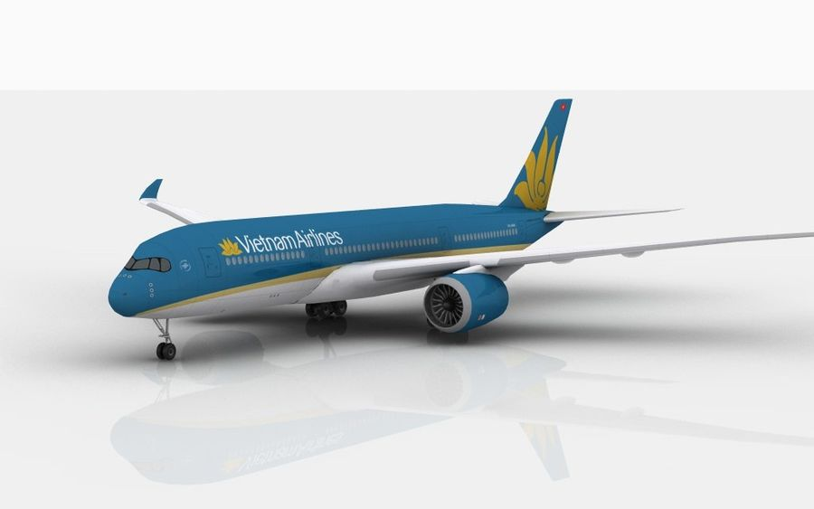 Airbus A350 Vietnam Airlines royalty-free 3d model - Preview no. 2