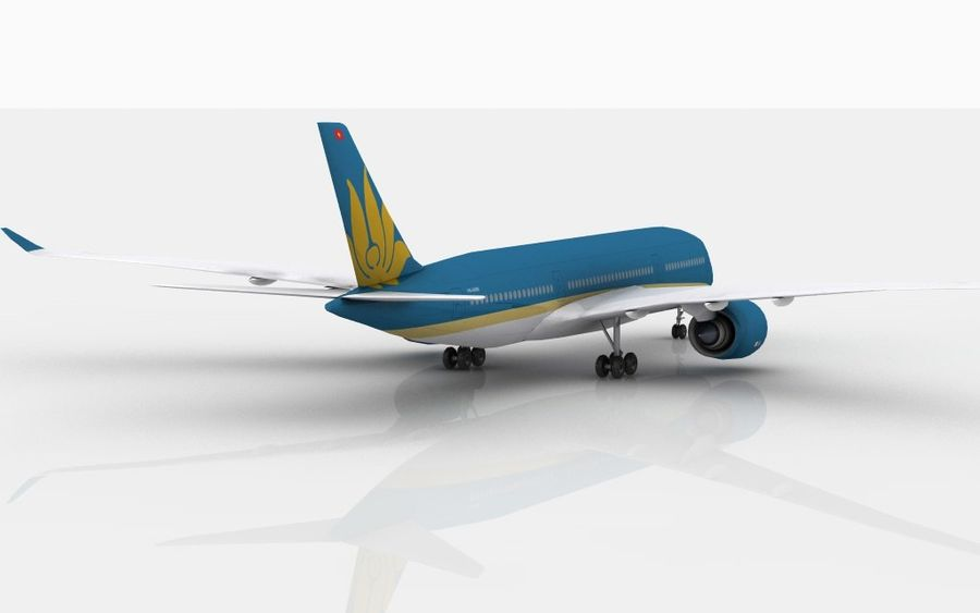 Airbus A350 Vietnam Airlines royalty-free 3d model - Preview no. 4