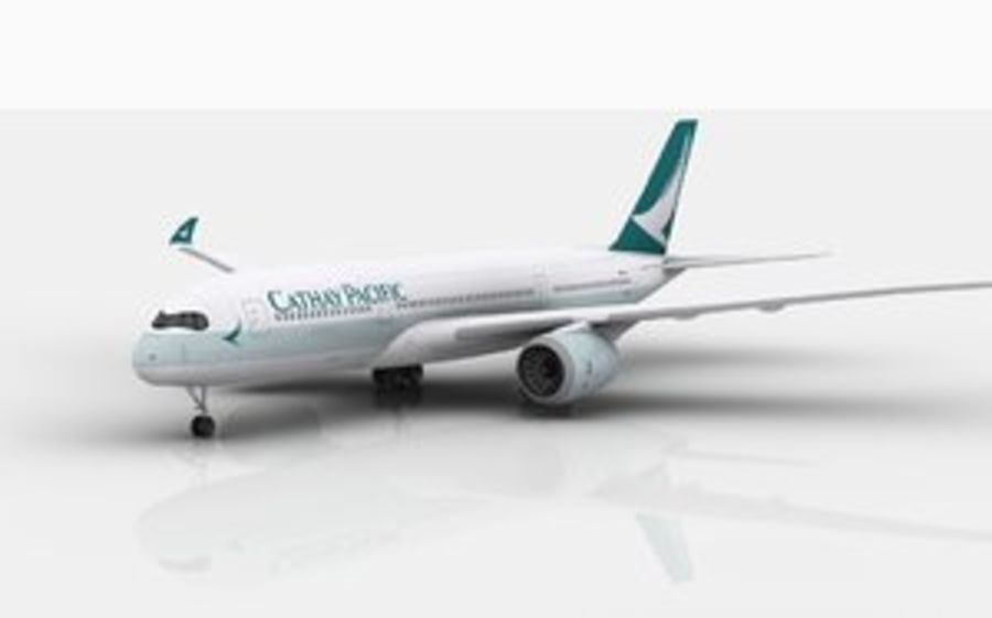 Airbus A350 Cathay Pacific royalty-free modelo 3d - Preview no. 1