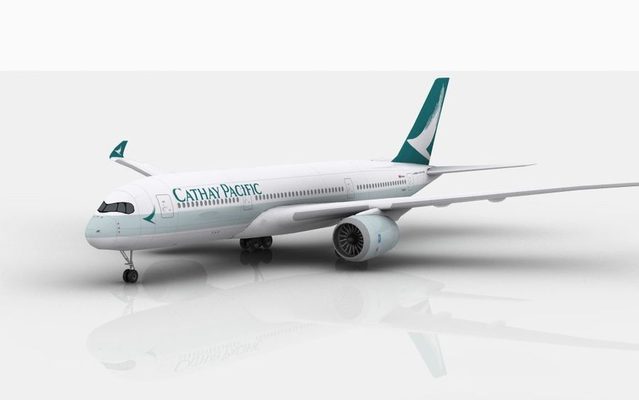 Airbus A350 Cathay Pacific royalty-free modelo 3d - Preview no. 2
