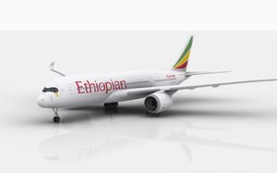 Airbus A350 Ethiopian royalty-free 3d model - Preview no. 1