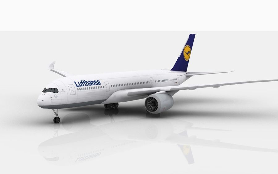 Airbus A350 Lufthansa royalty-free 3d model - Preview no. 1