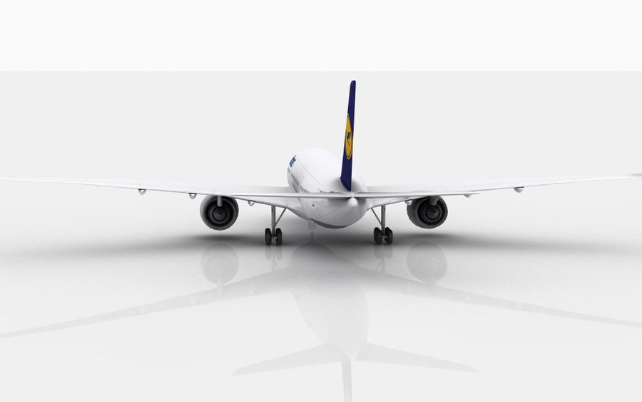 Airbus A350 Lufthansa royalty-free 3d model - Preview no. 4
