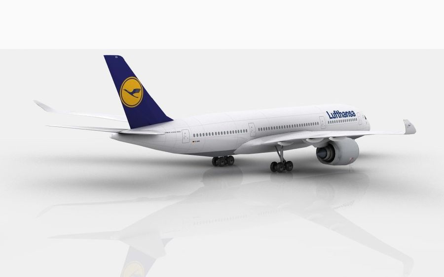 Airbus A350 Lufthansa royalty-free 3d model - Preview no. 3