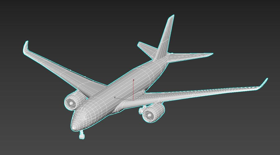 Airbus A350 Lufthansa royalty-free 3d model - Preview no. 6